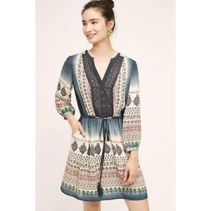 Anthropologie Perrie Boho Mixed Print Lace Dress